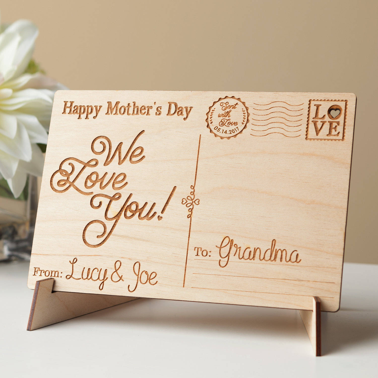 Happy Mother's Day Personalized Wood Postcard, We