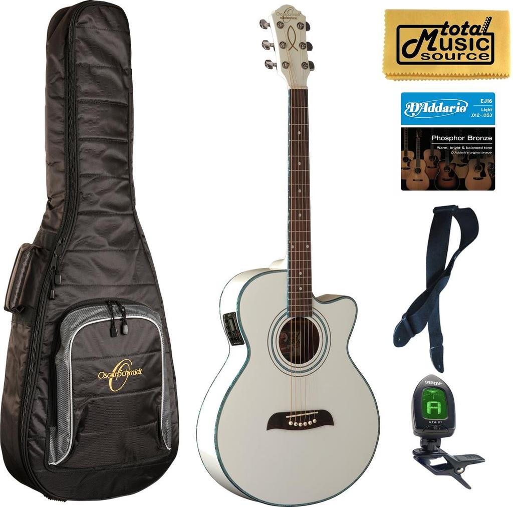 Oscar Schmidt Acoustic/Electric, White, OG10CEWH Bag Bundle, OG10CEWH BAGPACK