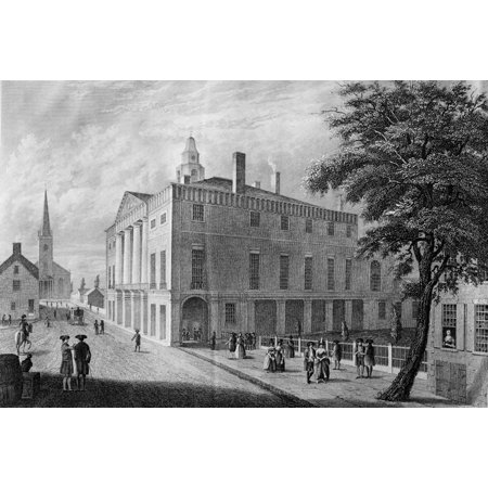 New York Federal Hall Nold City Hall  Federal Hall  On Wall Street New York City In 1789 Steel Engraving C1840 Rolled Canvas Art     24 X 36