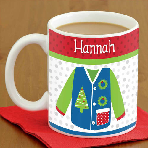 Personalized Ugly Christmas Sweater 15-Ounce Mug, Availble in 6 Designs