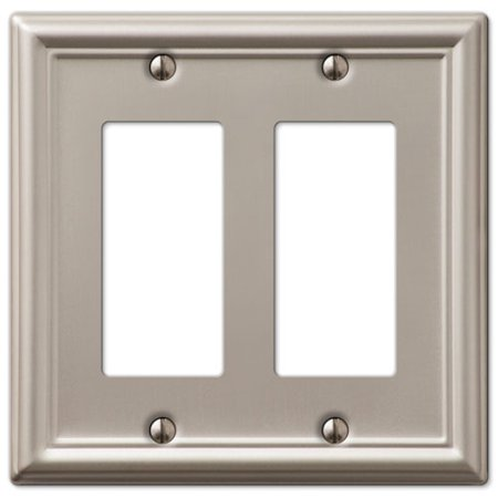 Double GFCI Rocker 2-Gang Decora Wall Switch Plate, Brushed Nickel ()