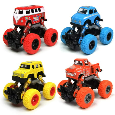 Pull Back Toy Truck (Toddler Toys Pullback Cars, 4-Packs Cars Toys Trucks Toys, Pull Back Vehicles with Shockproof Spring and Textured Rubber Tires, Friction Powered Fun Toys for Toddler Boys Girls Aged 3 and Above)