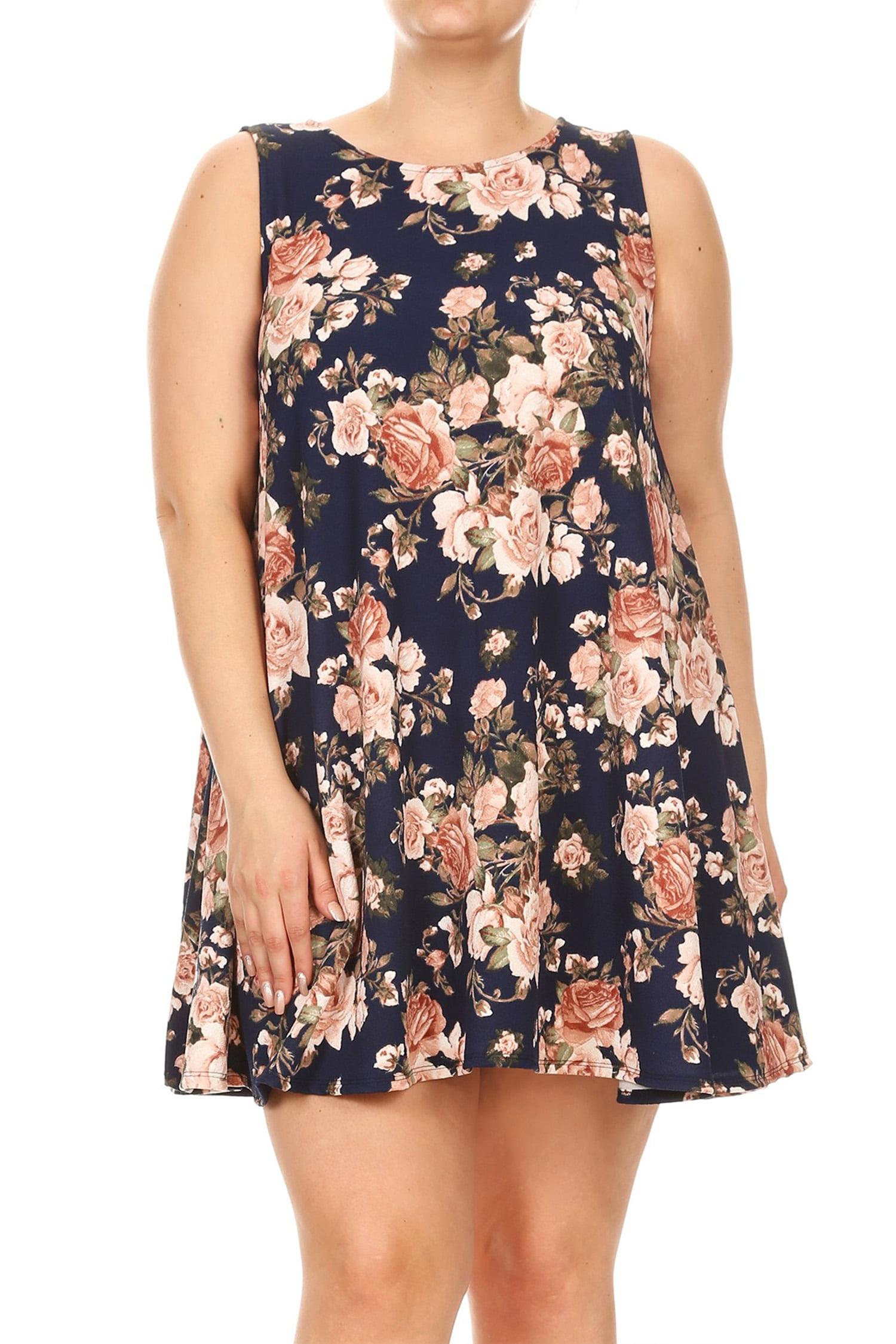 Women's Plus Size Floral Pattern Dress