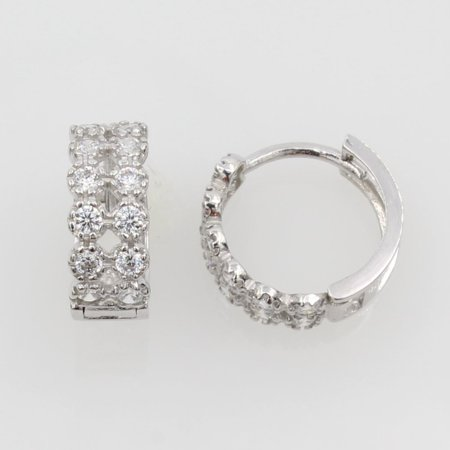 14K Real White Gold 4mm Thickness 12 Stone Cubic Zirconia Small Hoop Huggies Earrings