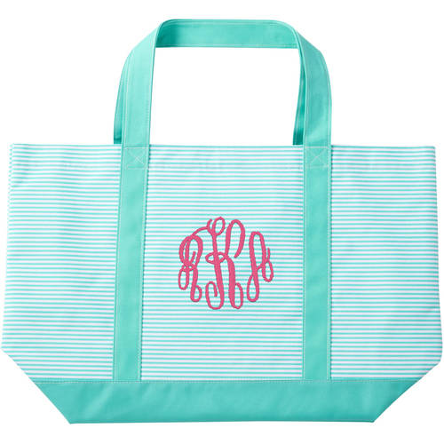 Personalized Or Monogram Mint Green Pinstripe Tote, Available In Different Font's