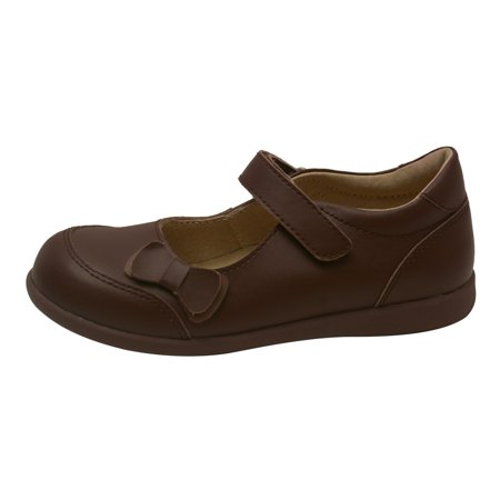 Girls Brown Leather Double Bow Accent Mary Jane Shoes 11-2 -