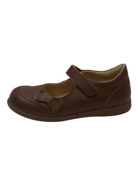 Girls Brown Leather Double Bow Accent Mary Jane Shoes 11-2 Kids