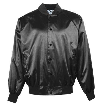 Personalized Baseball Jackets - Augusta Sportswear S MEN'S SATIN BASEBALL JACKET/SOLID TRIM Black 3600