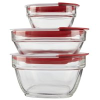 Rubbermaid Easy Find Lids Glass Food Storage and Meal Prep Containers, Set of 3 (6 Pieces Total)