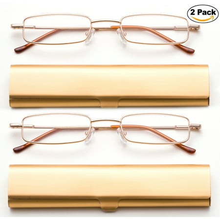 Newbee Fashion-Portable Compact Reading Glasses in Aluminum Case Metal Rectangle Shaped Reading Glasses with Spring Hinge in Case Lightweight Reader Slim Design Comfort fit in GOLD 2 Pack+2.50 Spring Metal Compact