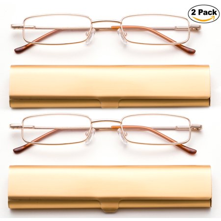 Newbee Fashion-Portable Compact Reading Glasses in Aluminum Case Metal Rectangle Shaped Reading Glasses with Spring Hinge in Case Lightweight Reader Slim Design Comfort fit in GOLD 2 (Lightweight Glasses Brands)