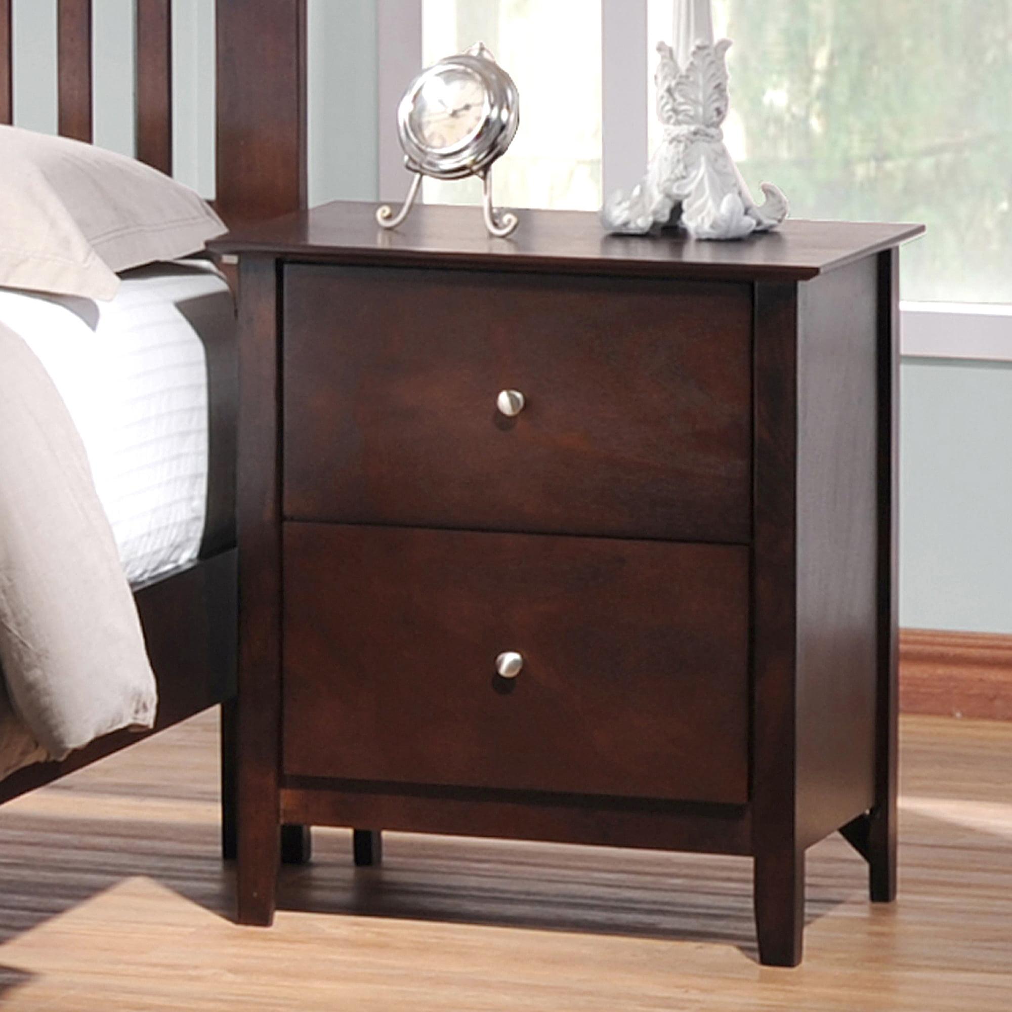Metropolitan 2 drawer wooden modern nightstand dark brown walmart com