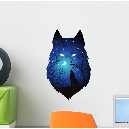 Spirit Animal Howling Wolf Wall Decal Wallmonkeys Peel and Stick Graphic (12 in H x 9 in W) WM502838