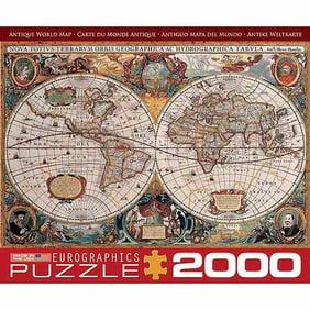 EuroGraphics Antique World Map Piece Puzzle Small Box - Antique map box