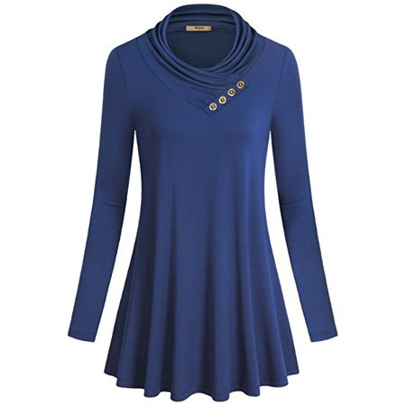 Missky Women's Long Sleeve Cowl Neck Pleated Casual Flared Tunic Top Blouse - image 3 of 8