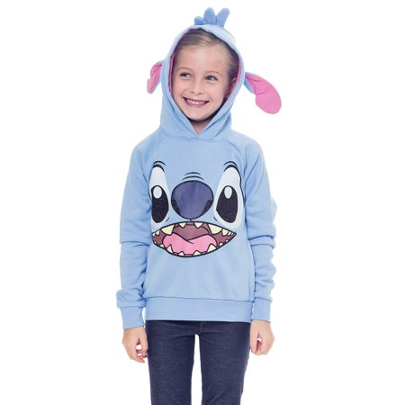 6d1058c3 Disney - Disney Girls Stitch Hoodie Sweatshirt with Ears Blue - Walmart.com