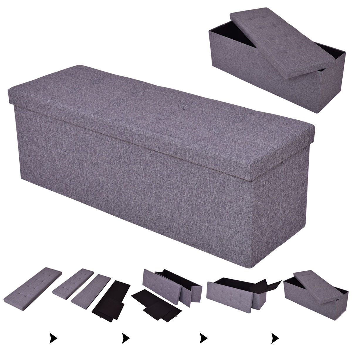 Gymax Folding Ottoman Bench Storage Stool Box Footrest Gray