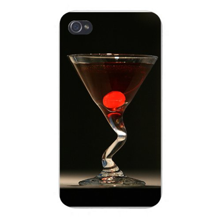 Apple Iphone Custom Case 4 4s White Plastic Snap on - Clear Martini Drink Glass Bent on Black ()