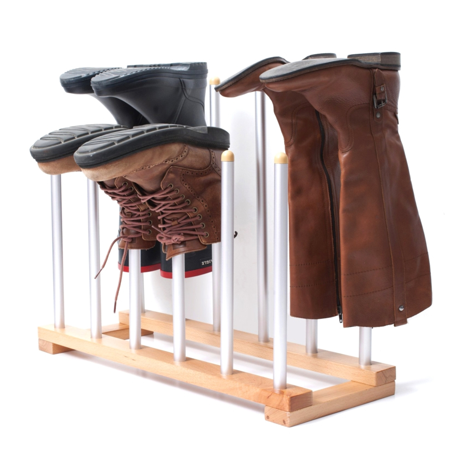 INNOKA 6 Pairs Boot Rack Organizer, Standing Wooden U0026 Aluminum Storage  Holder Hanger For Riding