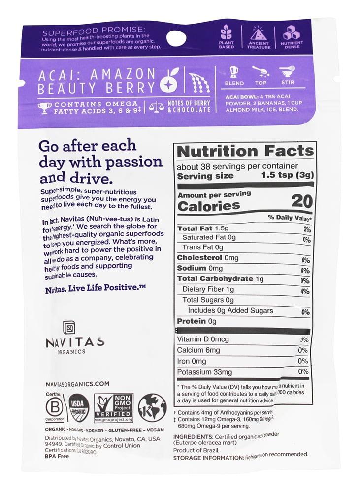 Navitas Organics Acai Powder, 4 0 oz, 38 Servings
