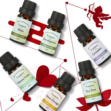 Skymore Top 6 Essential Oils Gift Set, 100% Pure & Natural Aromatherapy Oil for Valentine's Day Gift, Therapeutic Grade-Tea Tree, Lavender, Peppermint, Eucalyptus, Lemongrass, Oran - image 10 de 11