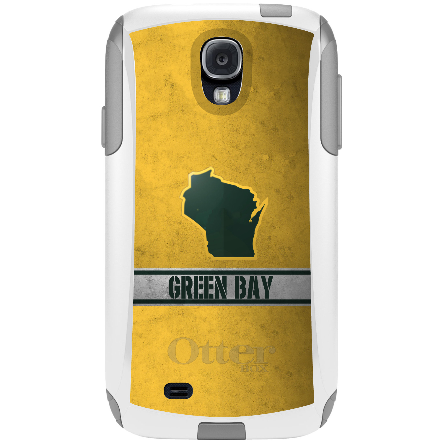 DistinctInk™ Custom White OtterBox Commuter Series Case for Samsung Galaxy S4 - Green Bay Wisconsin