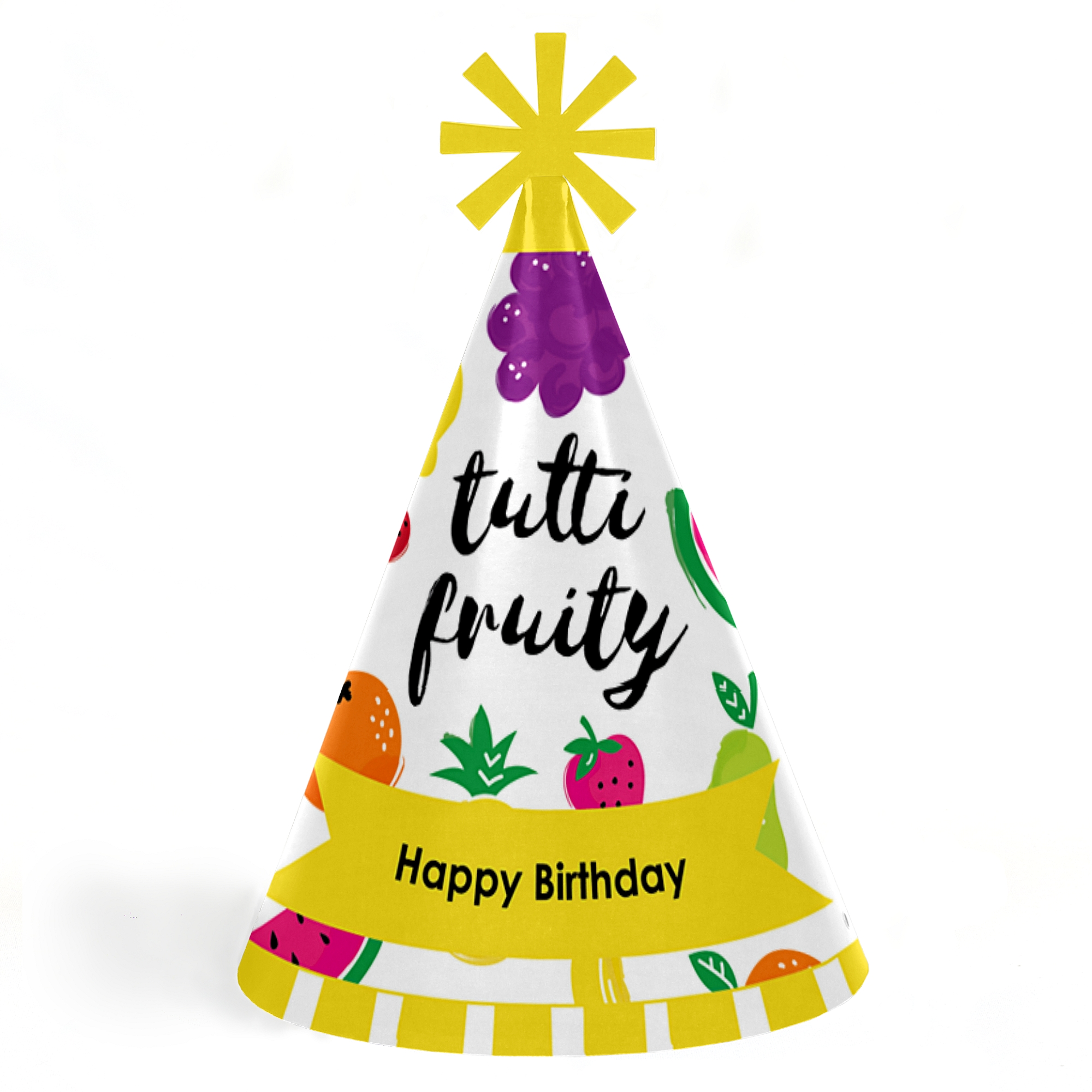 Tutti Fruity - Cone Frutti Summer Happy Birthday Party Hats for Kids and Adults - Set of 8 (Standard Size)