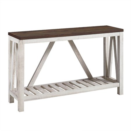 Pemberly Row 52 Rustic Entry Console Table in Dark Walnut Top w and White