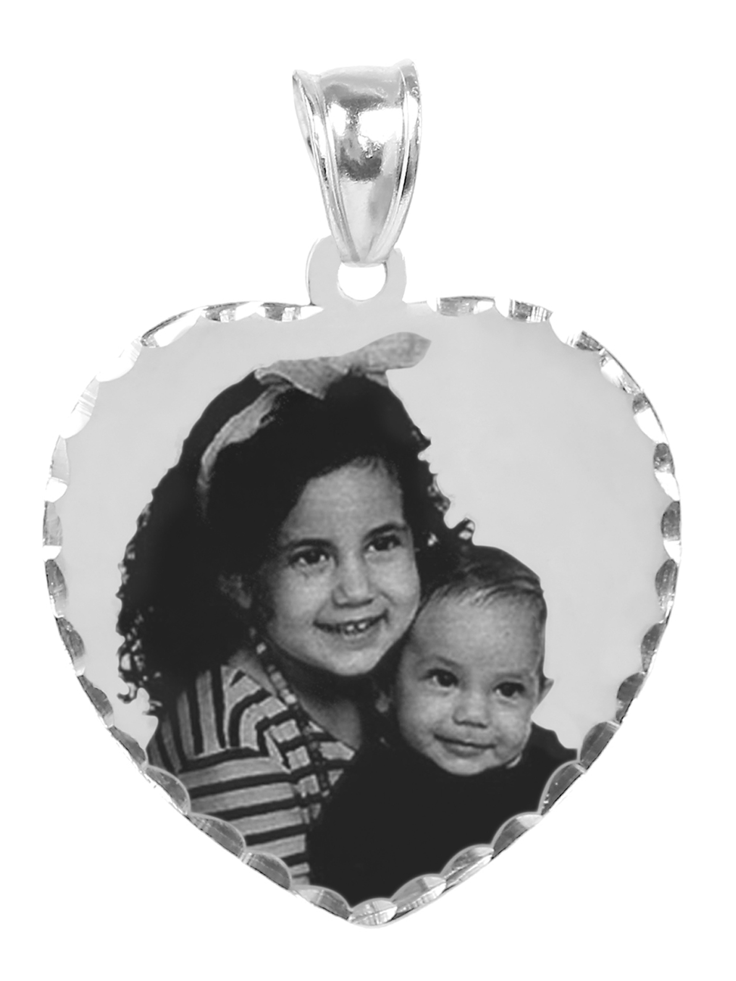 Personalized Sterling Silver Black and White Photo Heart Shaped Charm with Diamond Cut Border