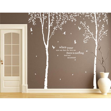 Popeven Set of 2 Birch Trees with Flying Birds Wall Stickers - Beautiful Tree Wall Decal Vinyl Wall Art Decor for Nursery Kids Rooms Bedroom Living Room 279x280cm