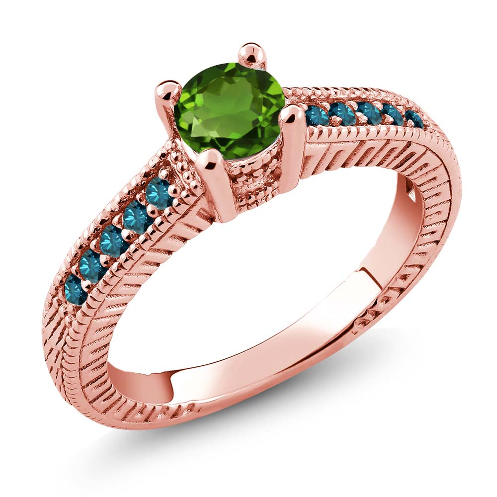 0.67 Ct Green Chrome Diopside Blue Diamond 925 Rose Gold Plated Silver Ring