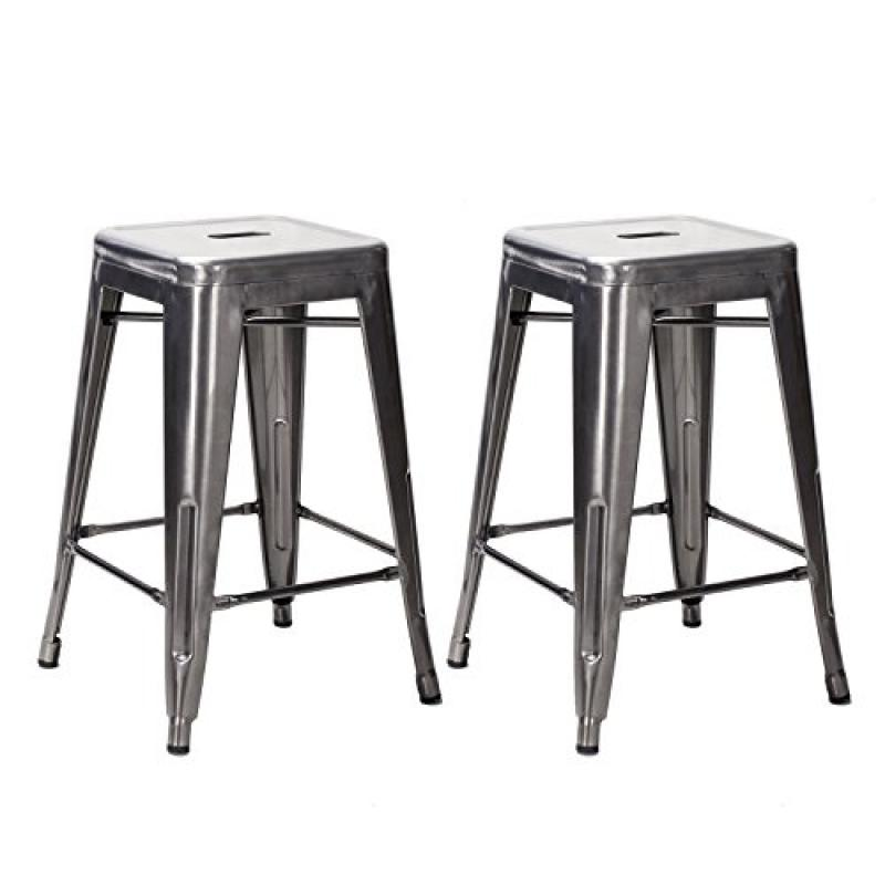 Image of Adeco 24-inch Gunmetal / Silver Glossy Metal Tolix-style Chair Counter Stool (Set of 2)
