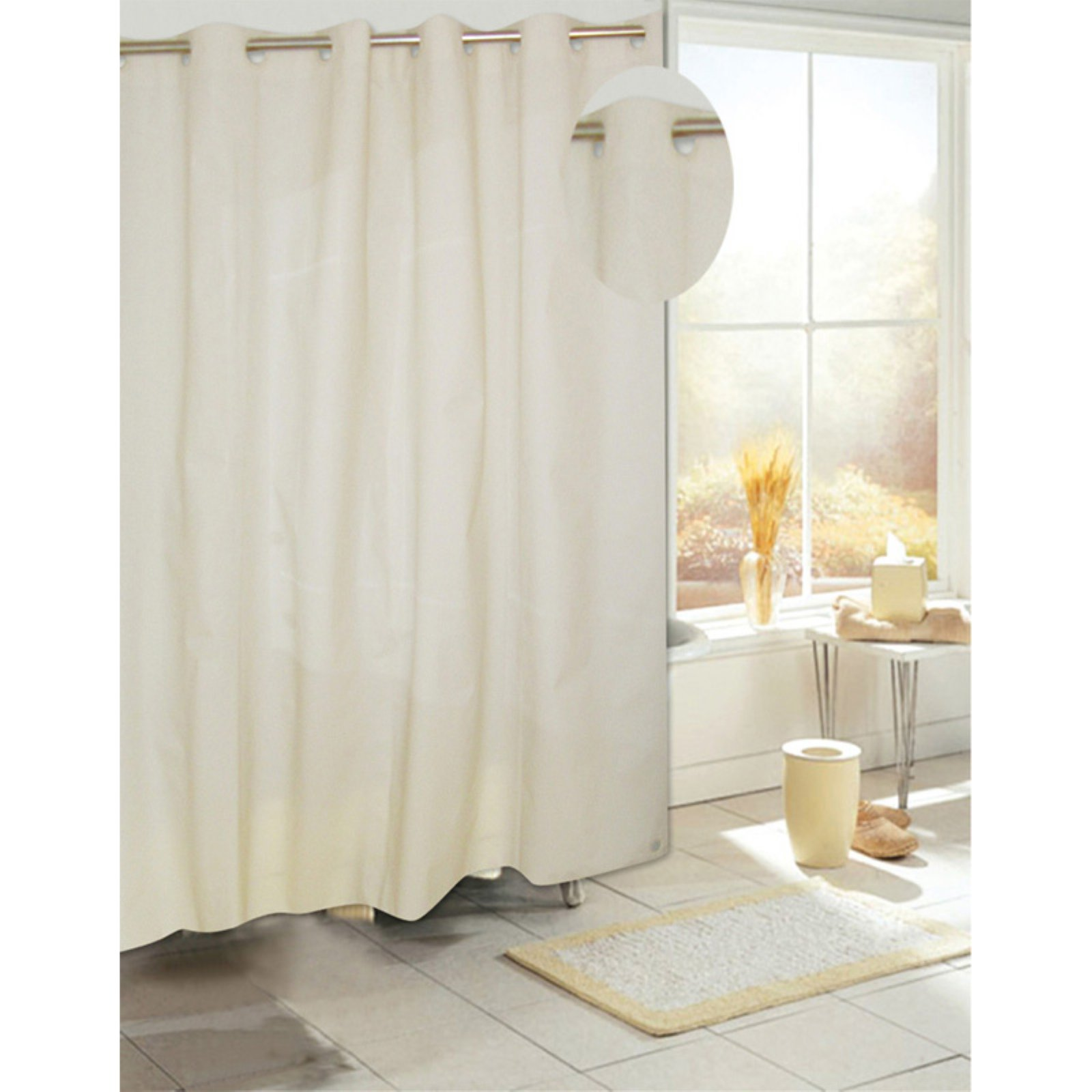 Carnation Home Fashions Ez On Eva Vinyl Shower Curtain with Build in Hooks