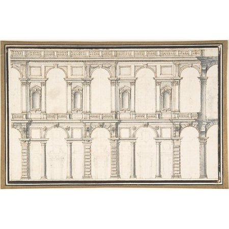 Unfinished Italian Marble (Design for a Facade (unfinished) Poster Print by Anonymous Italian late 16th century Date late 16th century Medium Pen and brown ink brush and gray wash over black chalk Dimensions sheet 5 78 x 9 14 i )