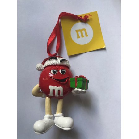 M&M's World Red Character with Present Resin Christmas Ornament New with Tag ()