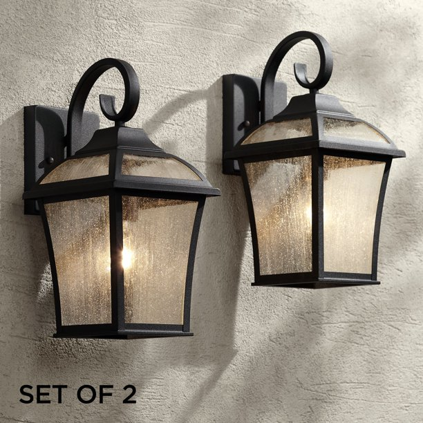 John Timberland Traditional Outdoor Wall Lights Fixture Set Of 2 Carriage Style Textured Black 15 Clear Seedy Glass For House Walmart Com Walmart Com
