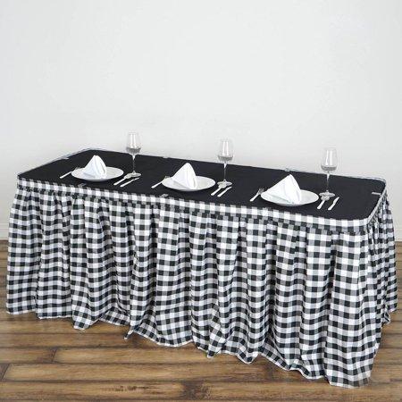 21FT White/Black Checkered Gingham Polyester Table Skirt Outdoor Picnic