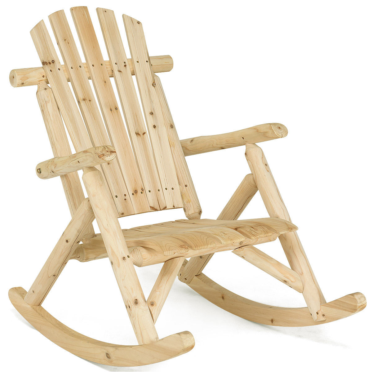 Costway Log Rocking Chair Wood Single Porch Rocker Lounge Patio Deck Furniture Natural