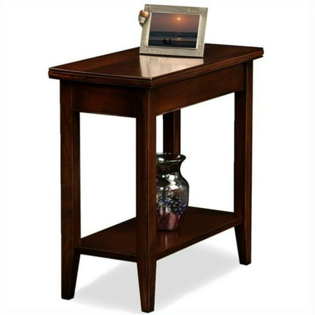 Bowery Hill Solid Wood Rectangular End Table in Chocolate Cherry Distressed Cherry Finish Wood