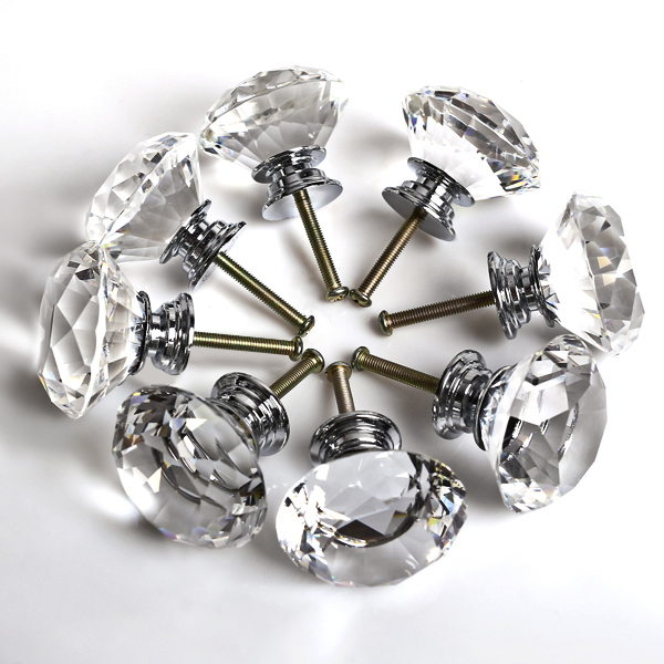 Attractive Top Quality 8 Pcs 40MM Kitchen Cabinet Drawer Knobs, Clear Crystal Glass  Diamond Cut Door Knobs   Walmart.com