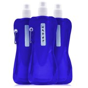 6-Pack 16 Oz Collapsible Foldable Water Bottle - Bpa Free Reusable For Kids Adults Canteen Drinking Bottles With Carabiner Ultra Lightweight Portable For Outdoor Travel Sports, 473Ml Blue