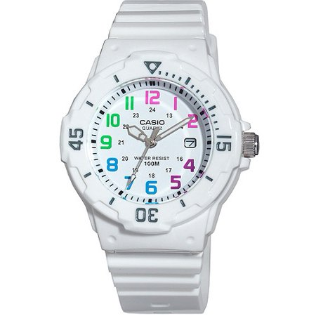Women's Diver Watch, White Strap and Multi-Colored (Alpine Diver Watch)
