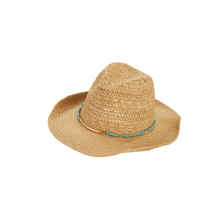 Turquoise Beads Cowboy Hat Distressed Straw Cowboy Hat
