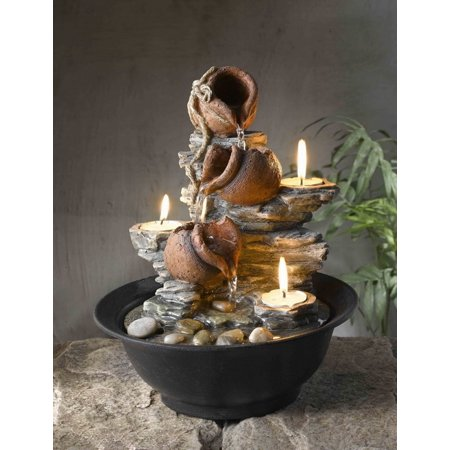 Jeco FCT002 Tavolo Luci Tabletop Mini Pot Fountain with Candles