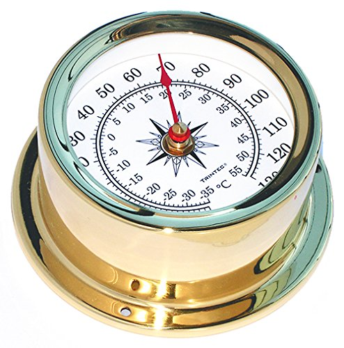 Trintec Euro Thermometer Polished Brass Marine Nautical Instrument for Boat or Cabin EUR-03