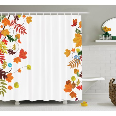 Harvest Shower Curtain Colorful Seasonal Maple Aspen Leaves Frame Fall Foliage Environment Nuts Butterfly