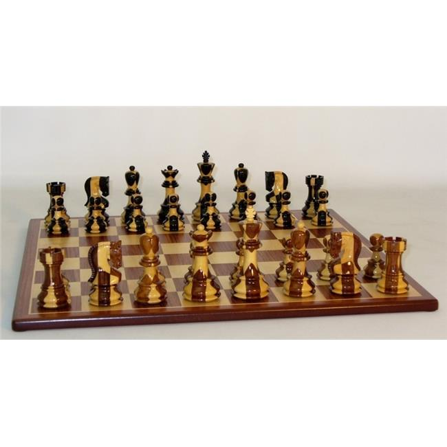 WW Chess 37SI-PM Inlaid Russian on Padauk Brd Chess Set Wood by WW Chess