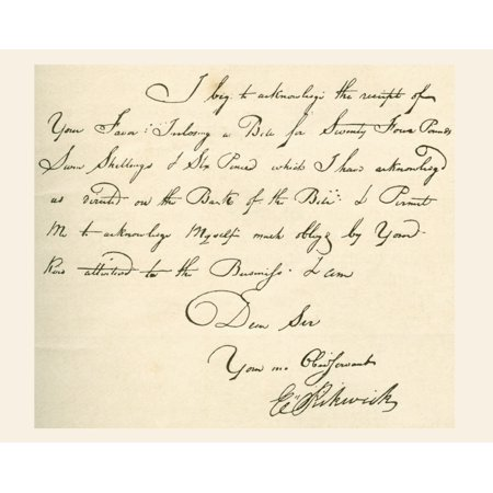 - Receipt Dated 1802 Signed By E Pickwick A Coach Proprietor From Whom Charles Dickens Took The Name For The Pickwick Papers Charles John Huffam Dickens 1812  Canvas Art - Ken Welsh  Design Pics (30 x 2