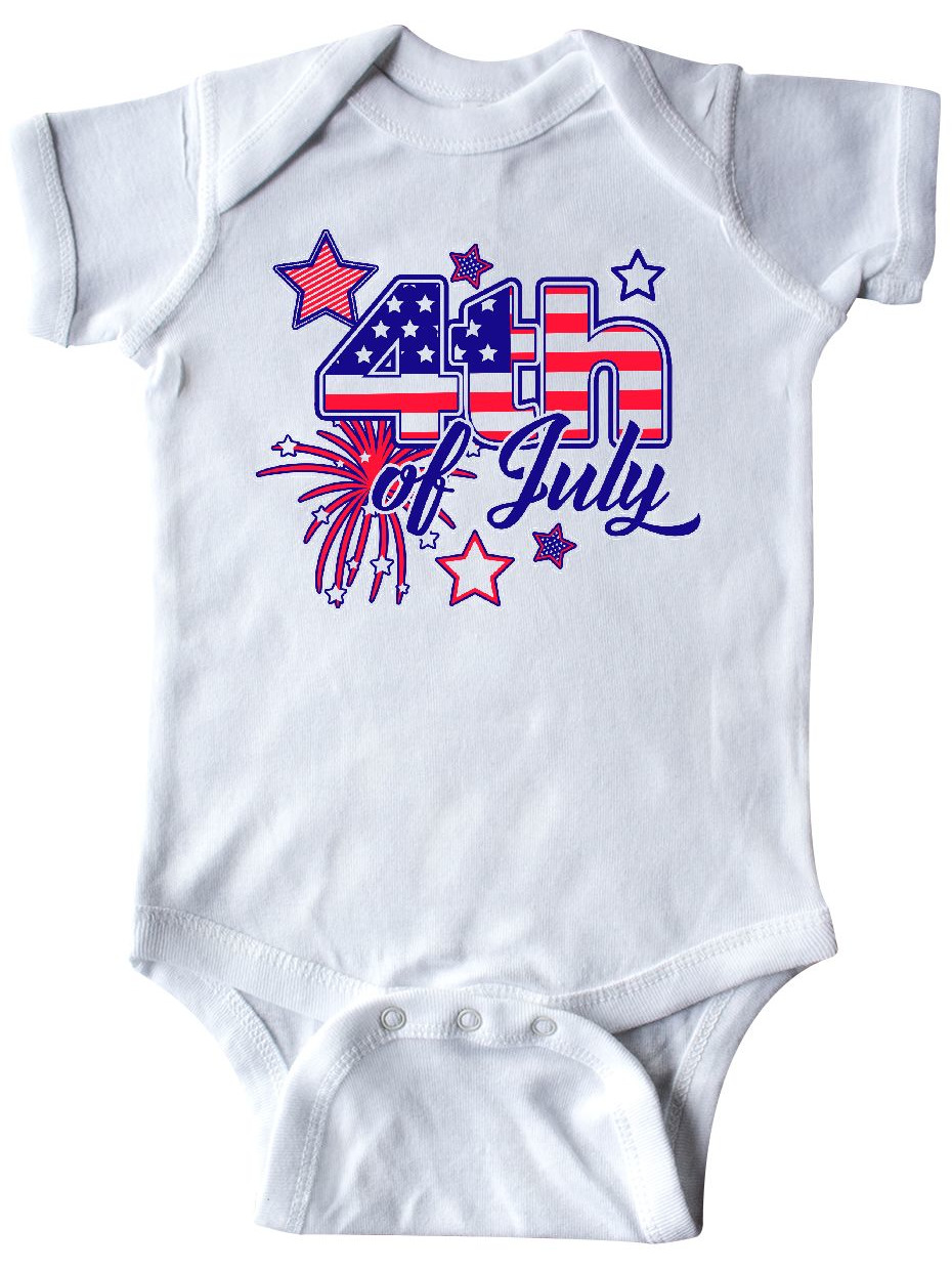 4th of July Fireworks Stars and American Flag Infant Creeper by Inktastic