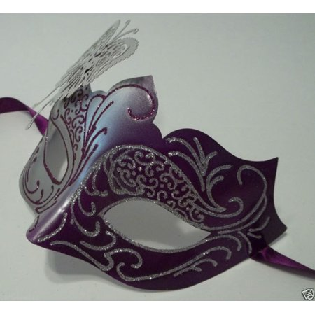 Purple Silver Butterfly laser cut  Mardi Gras Masquerade Mask Adult